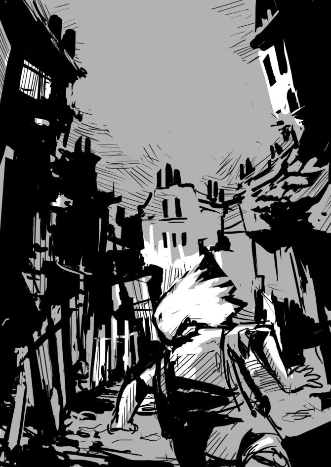 Running around in A desolate town.